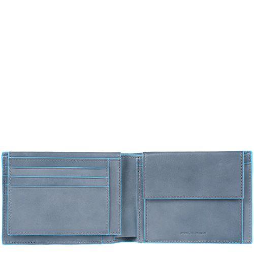 Кожаное портмоне Piquadro Blue Square темно-синее и серое внутри с монетницей
