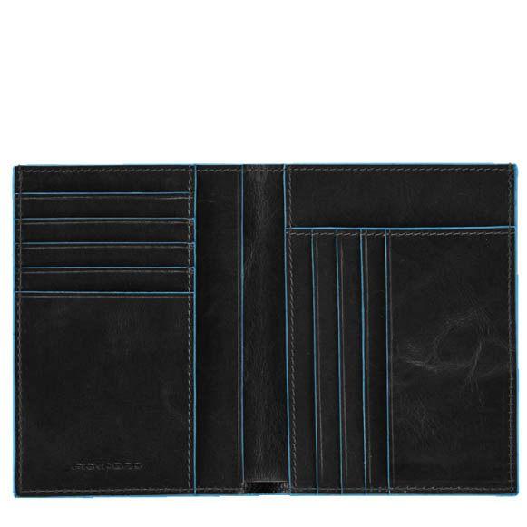 Портмоне вертикальное Piquadro на 9 кредитных карт Blue square черное
