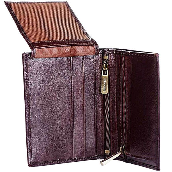 Вертикальное коричневое кожаное портмоне Puccini Masterpiece с множеством карманов