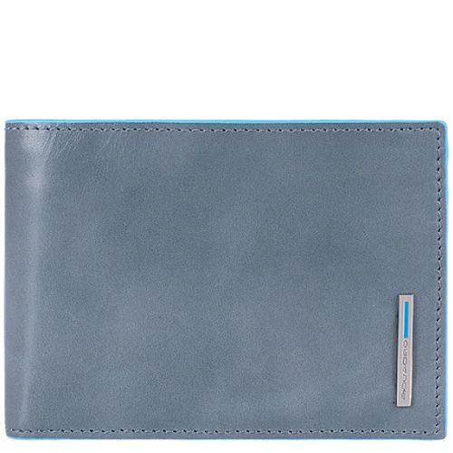 Портмоне Piquadro Blue Square кожаное светло-серое горизонтальное с монетницей на кнопке