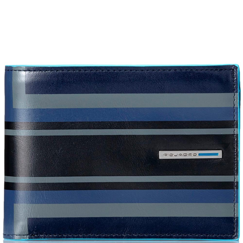 Горизонтальное черное портмоне Piquadro B2 Graphic с геометрическим рисунком