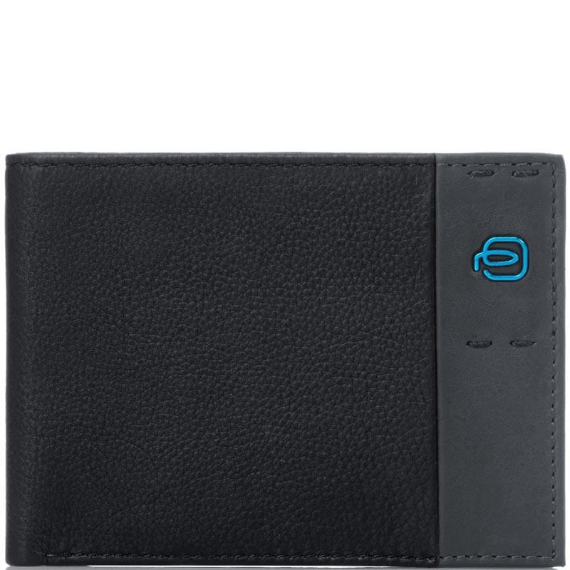 Горизонтальное черное портмоне Piquadro Pulse из зернистой кожи