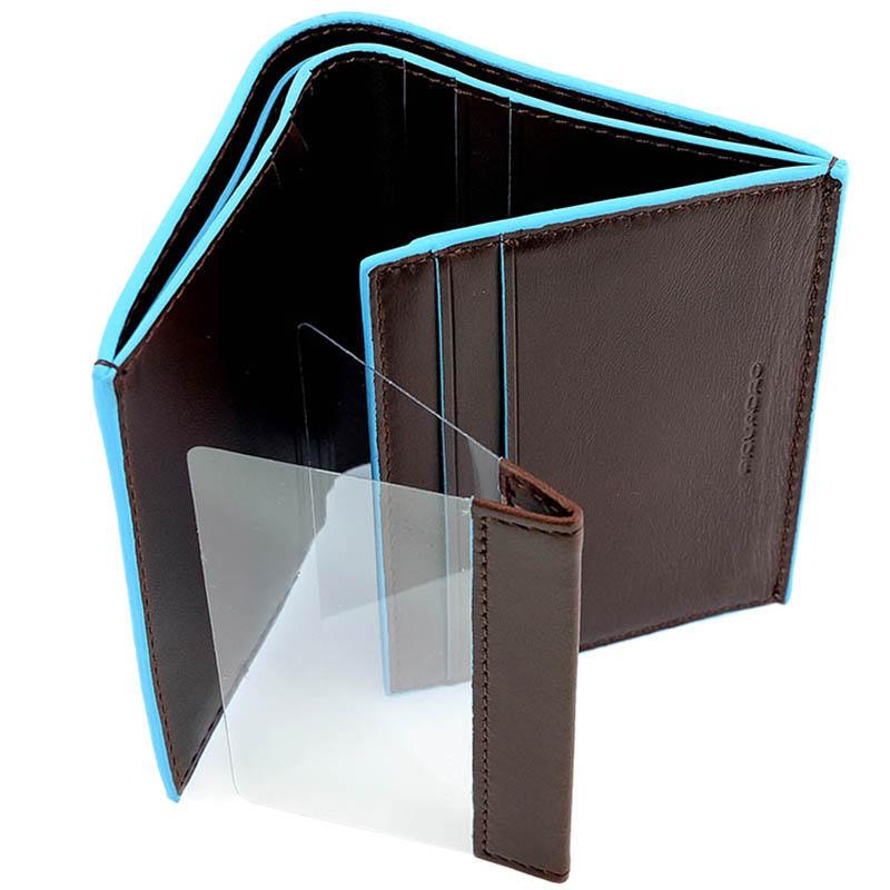 Коричневое портмоне Piquadro Blue Square из кожи с голубым кантом