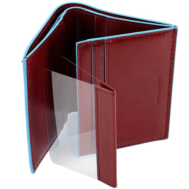 Бордовое портмоне Piquadro Blue Square из кожи с голубым кантом