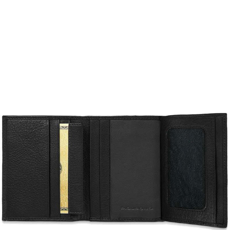 Вертикальное портмоне Piquadro Blue Square из кожи черного цвета