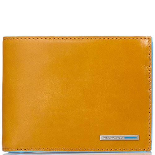 Горизонтальное желтое портмоне Piquadro Blue Square из кожи