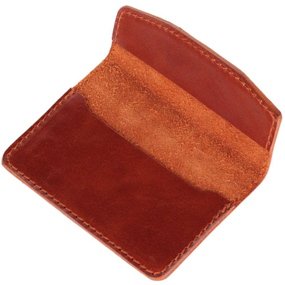 Визитница Rechi.Ua коричневого цвета из глянцевой кожи