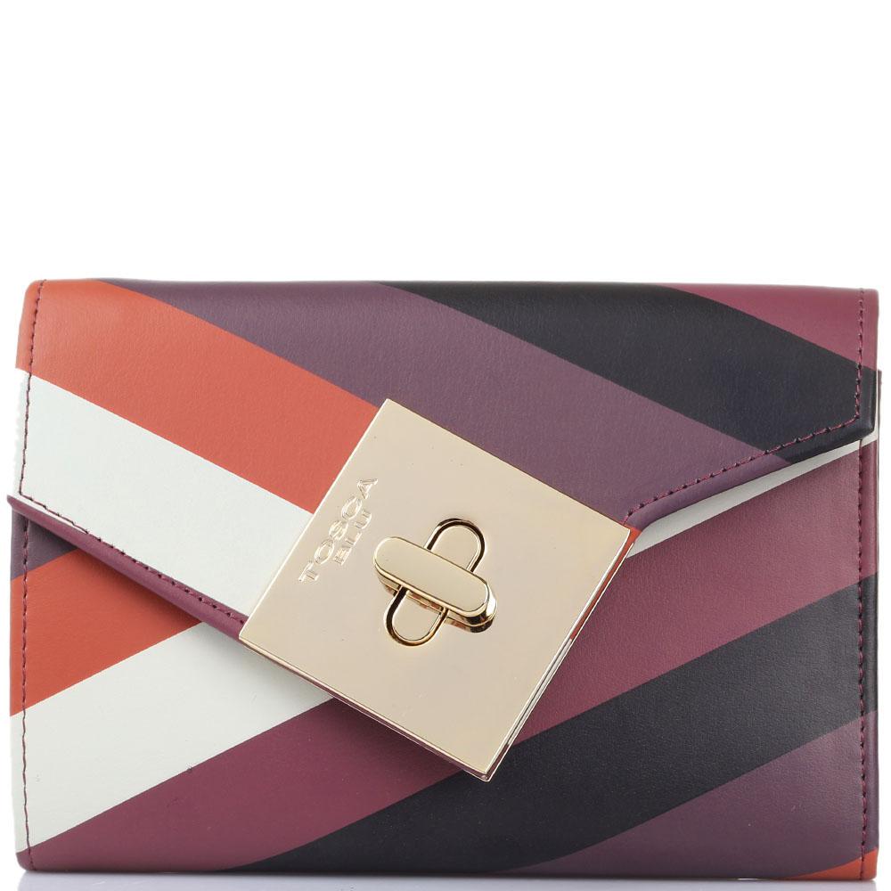 Женское портмоне Tosca Blu бордового цвета с принтом в полоску