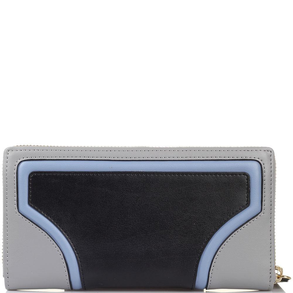 Женское портмоне Tosca Blu серого цвета с черными и голубыми вставками
