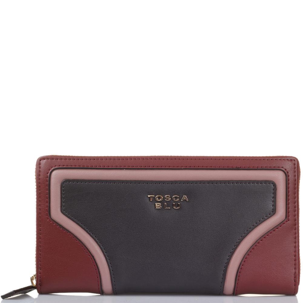 Женское портмоне Tosca Blu бордового цвета с коричневыми вставками