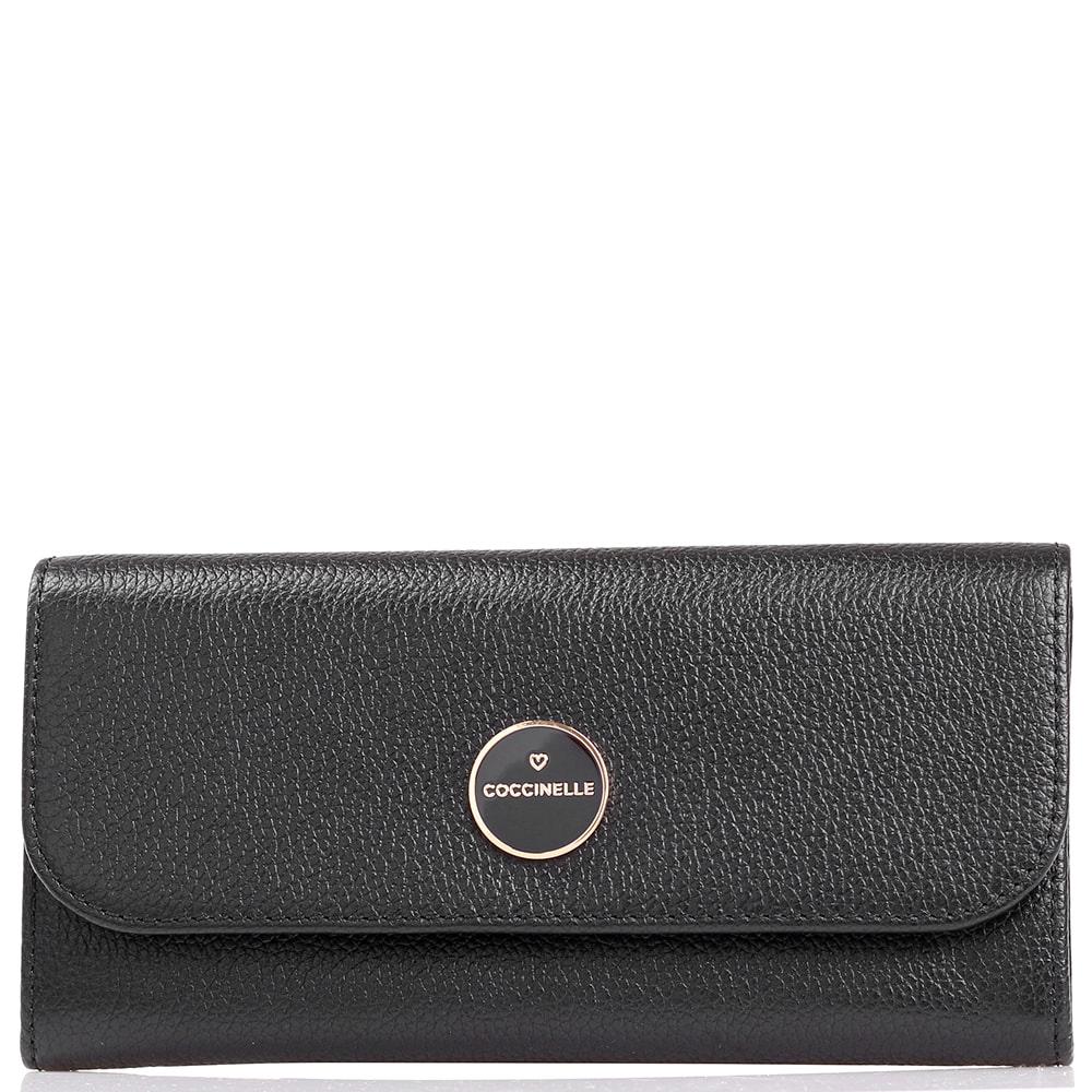 Женское портмоне Coccinelle с фирменным логотипом черного цвета