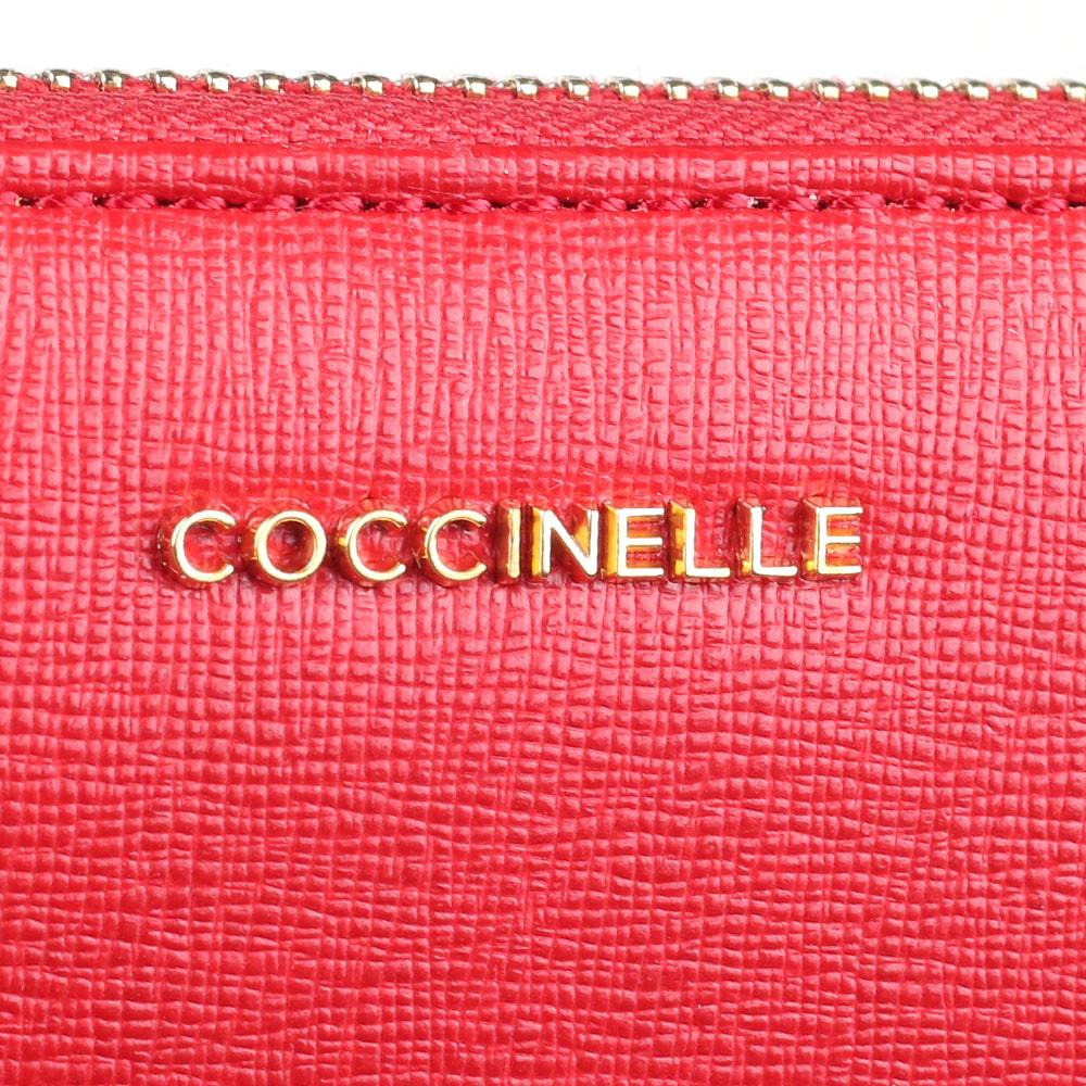 Портмоне Coccinelle из кожи с тиснением Сафьяно красного цвета