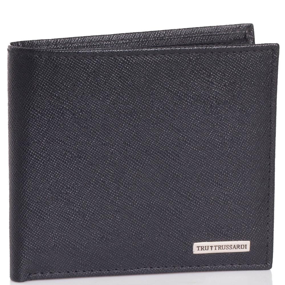 Мужское портмоне Trussardi Jeans из тисненой кожи черного цвета