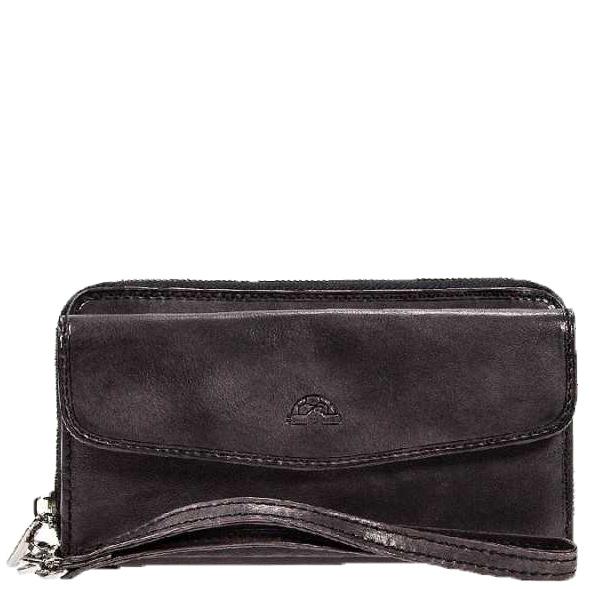 Черное портмоне Tony Perotti Vintage со съемным кистевым ремнем