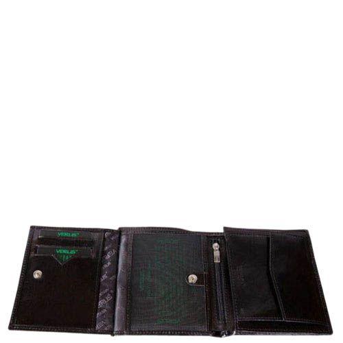 Компактный кошелек Verus Mil из натуральной гладкой кожи черного цвета