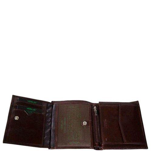 Компактный вместительный кошелек Verus Mil из натуральной коричневой кожи