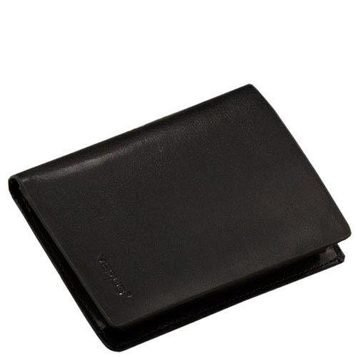 Компактное черное портмоне Verus Mil из натуральной гладкой кожи