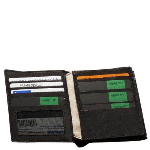 Черное тонкое портмоне Verus Mil с множеством отсеков из гладкой кожи