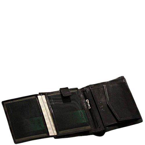 Небольшой вместительный кошелек Verus Mil из черной гладкой кожи