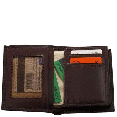 Коричневый вместительный кошелек Verus Mon из кожи небольшого размера