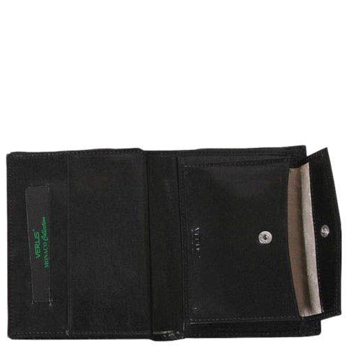 Черное портмоне с множеством карманов Verus Mon из натуральной гладкой кожи