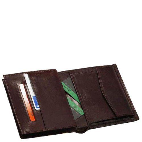 Тонкое коричневое портмоне из гладкой кожи Verus Mon с множеством отделений и карманов