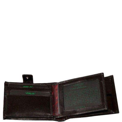 Черный кожаный кошелек Verus Paris из натуральной кожи в фирменным тиснением