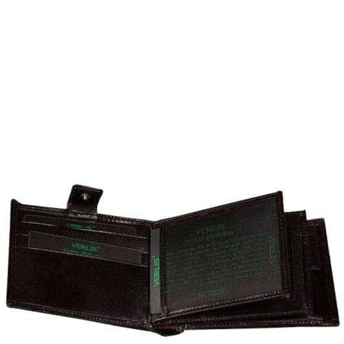 Черный кожаный кошелек Verus Paris из кожи в фирменным тиснением