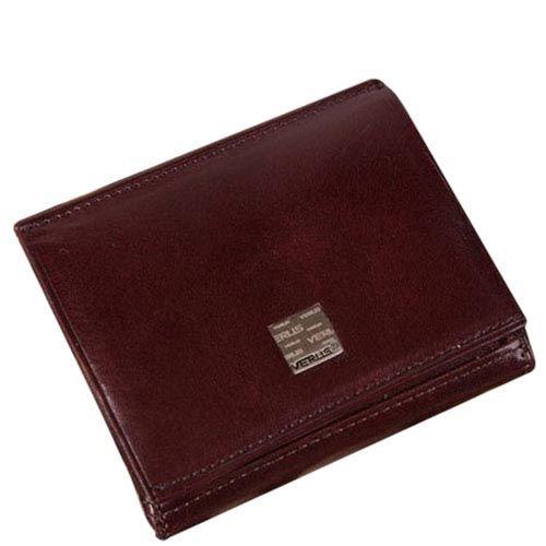 Коричневый вместительный кошелек Verus Tokio на кнопке из кожи