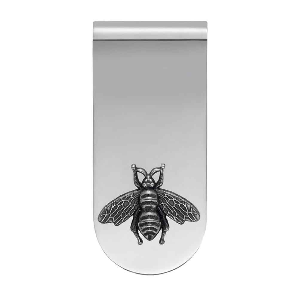 Серебряный зажим для денег Gucci Gucci с декором в виде пчелы