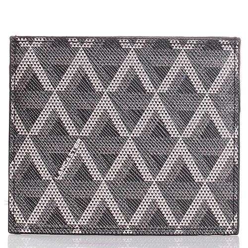 Кардхолдер из кожи сафьяно с геометрическим принтом Lancaster черный с серым, фото
