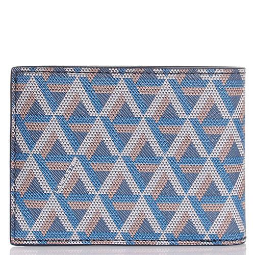 Портмоне из кожи сафьяно Lancaster синего цвета с геометрическим принтом, фото