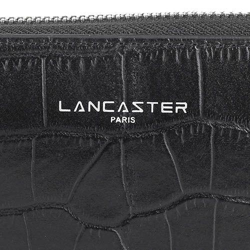 Портмоне Lancaster из натуральной кожи черного цвета с фактурой кроко, фото