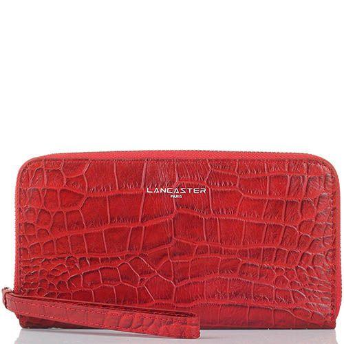 Женское портмоне Lancaster из кожи красного цвета под кожу рептилии, фото