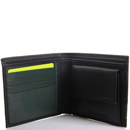 Портмоне черного цвета с зеленой вставкой Versace Jeans из кожи сафьяно, фото