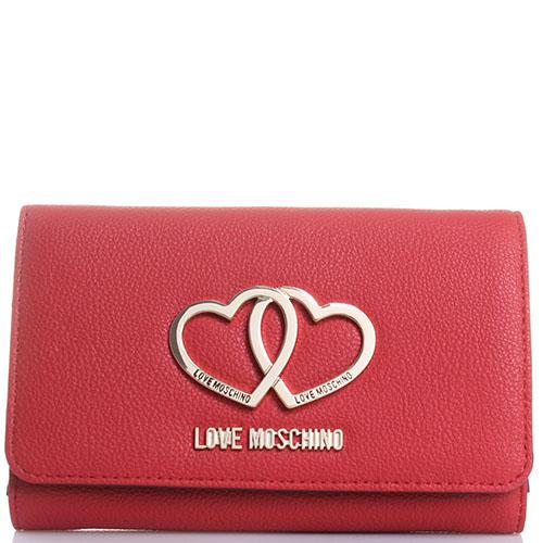Портмоне Love Moschino красного цвета с декором в виде сердец, фото