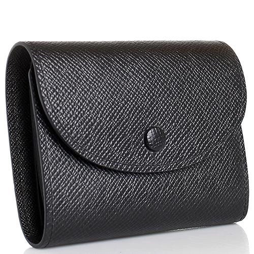 Кошелек на кнопке Coveri черного цвета с тиснением Сафьяно, фото