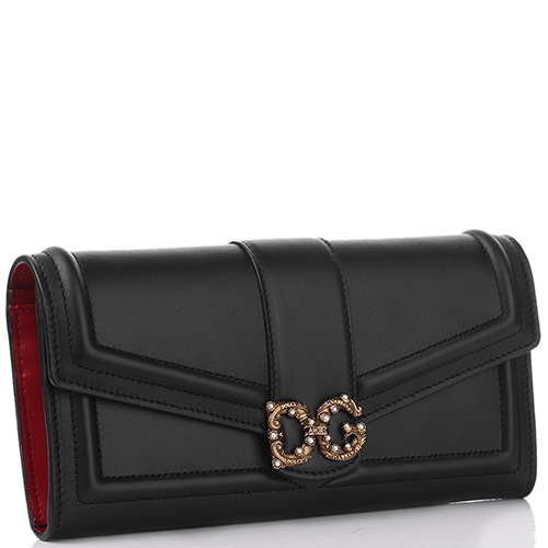 Черный кошелек Dolce&Gabbana DG Amore с красной подкладкой, фото
