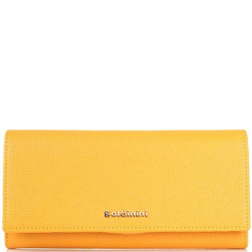 Портмоне из кожи Сафьяно Baldinini оранжевого цвета с клапаном, фото