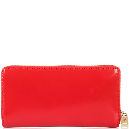 Кожаное портмоне на молнии Baldinini красного цвета, фото