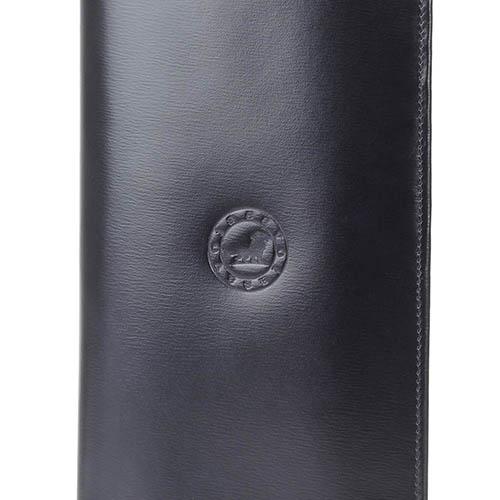Вместительное портмоне Savoia из черной кожи с отделами для карт, фото