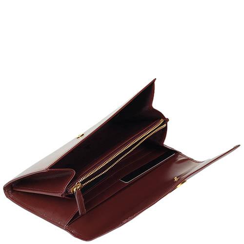 Коричневое женское портмоне Savoia из кожи на кнопке, фото