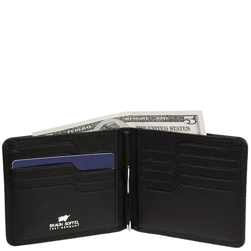 Черное портмоне Braun Bueffel Golf с металлическим зажимом, фото