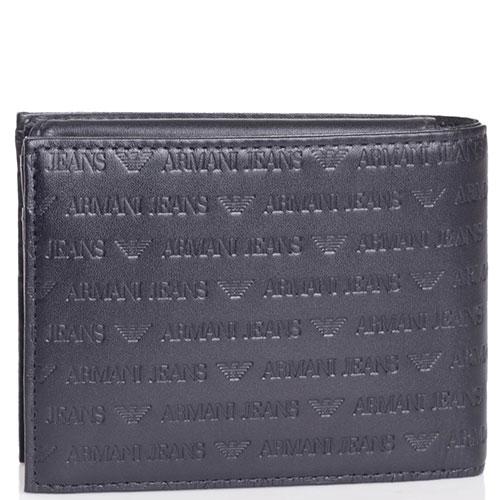 Портмоне черного цвета Armani Jeans с фирменным тиснением, фото