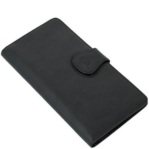 Тонкий вместительный портмоне-тревеллер Tony Perotti Accademia из натуральной черной кожи, фото