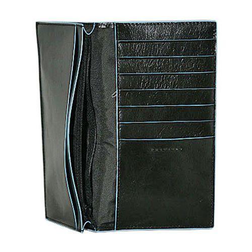 Портмоне Piquadro Blue Square кожаное черное вертикальное с отделениями для карт и документов, фото