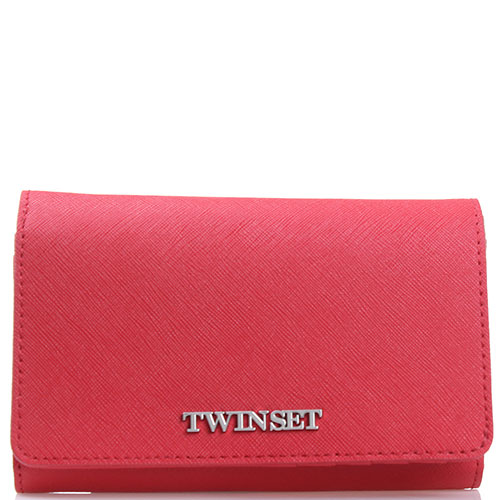 Красный кошелек Twin-Set Simona Barbieri из кожи с тиснением сафьяно, фото