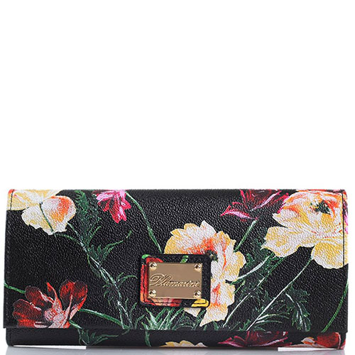 Женский кошелек Blumarine Anemone черного цвета с цветочным принтом, фото
