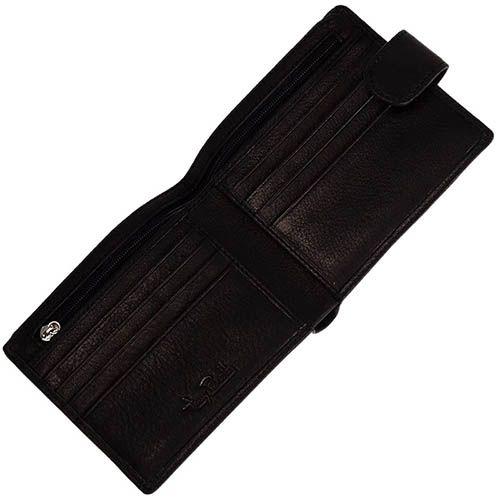 Классическое черное портмоне Tony Perotti Contatto из натуральной кожи на кнопке, фото