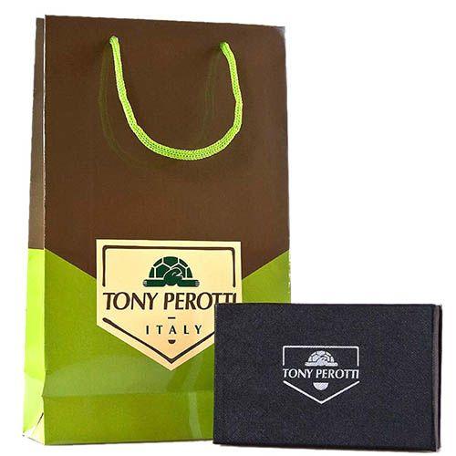 Вертикальное портмоне Tony Perotti Contatto из натуральной зернистой кожи черного цвета, фото
